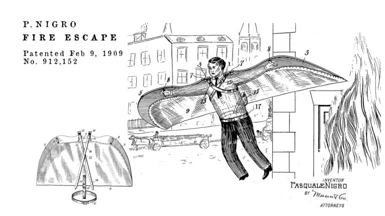 Brevetti bizzarri de Dominicis & mayer brevetti strani, ali per volare e antenato tuta alare moderna