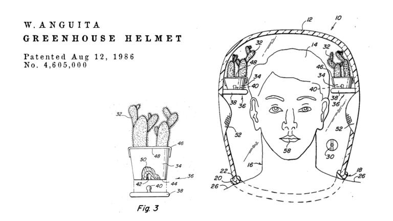 Brevetti bizzarri de Dominicis & mayer brevetti strani, casco serra per ossigeno pulito personale