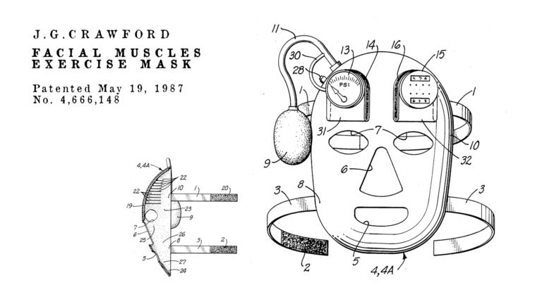 Brevetti bizzarri de Dominicis & mayer brevetti strani, maschera per allenare i muscoli facciali ed evitare rughe