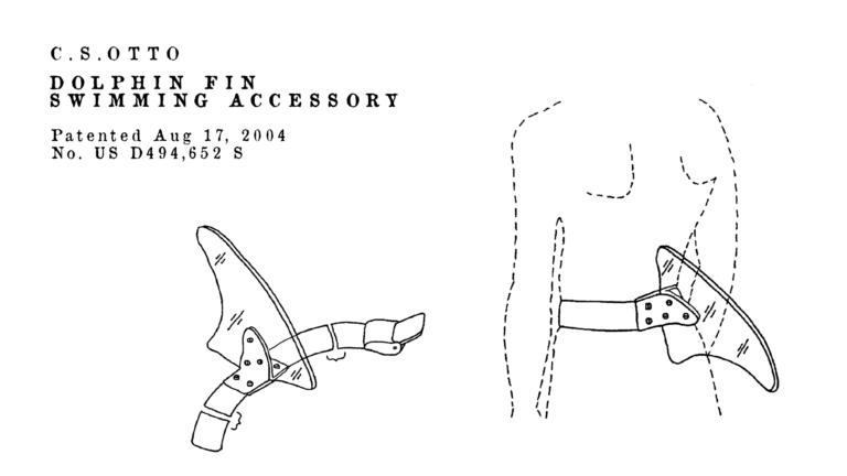 Brevetti bizzarri de Dominicis & mayer brevetti strani, pinna finta squalo per scherzi in spiaggia