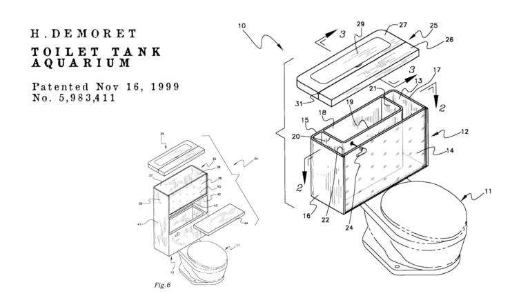 Brevetti bizzarri de Dominicis & mayer brevetti strani, wc acquario per poco spazio in casa
